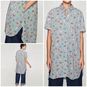 EUC Zara Books Lover Pattern Striped Tunic Blouse
